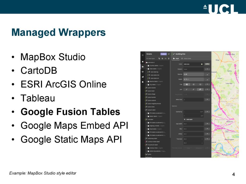 Managed Wrappers • MapBox Studio • CartoDB •...