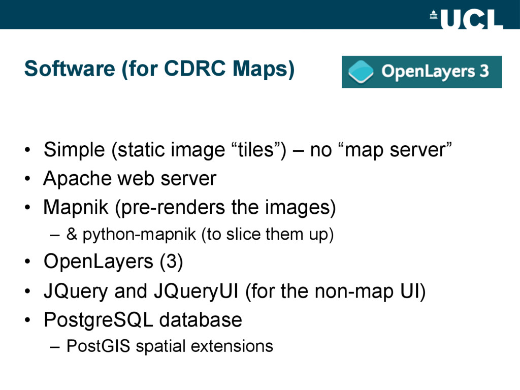 Software (for CDRC Maps) • Simple (static imag...