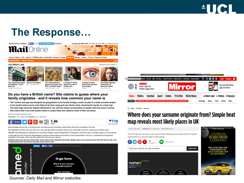 The Response… Sources: Daily Mail and Mirror we...