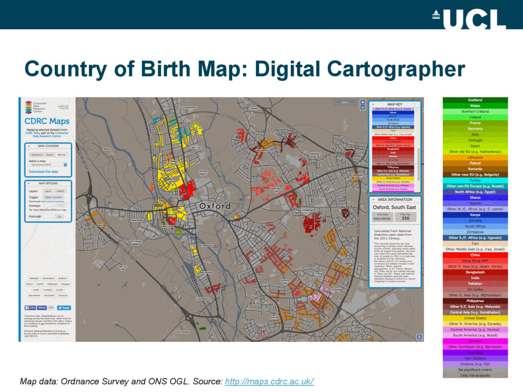 Country of Birth Map: Digital Cartographer Map ...