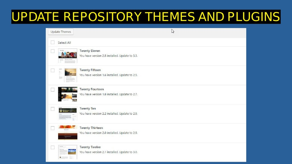 UPDATE REPOSITORY THEMES AND PLUGINS