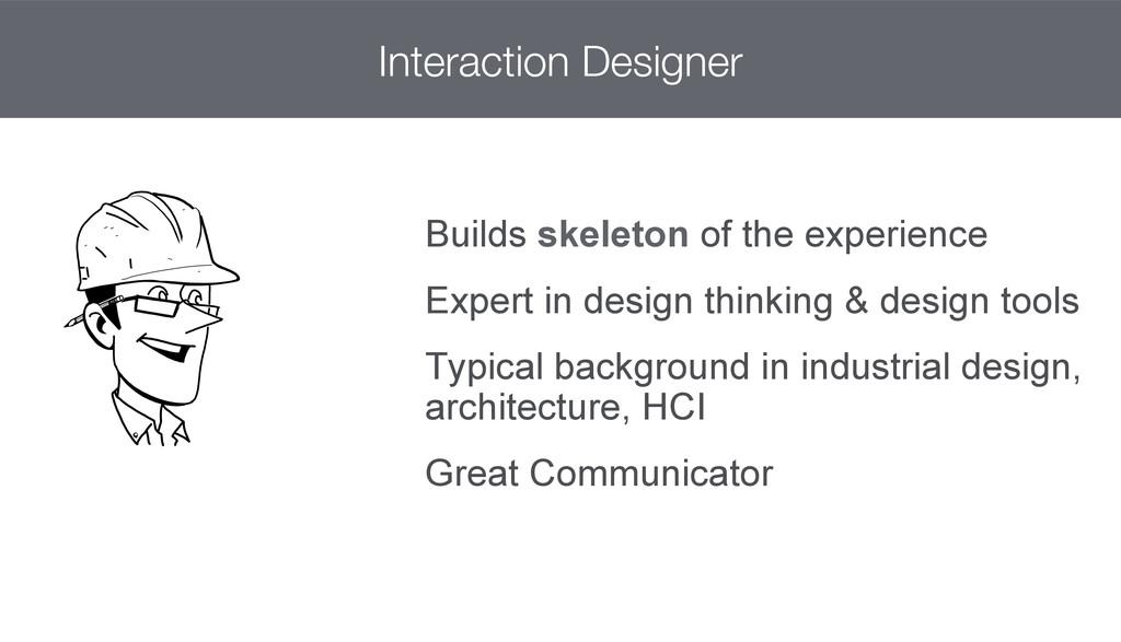 Interaction Designer Builds skeleton of the ex...