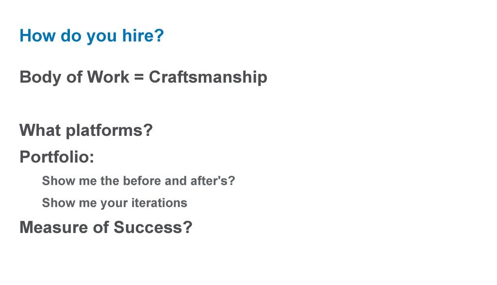 Body of Work = Craftsmanship What platforms? Po...