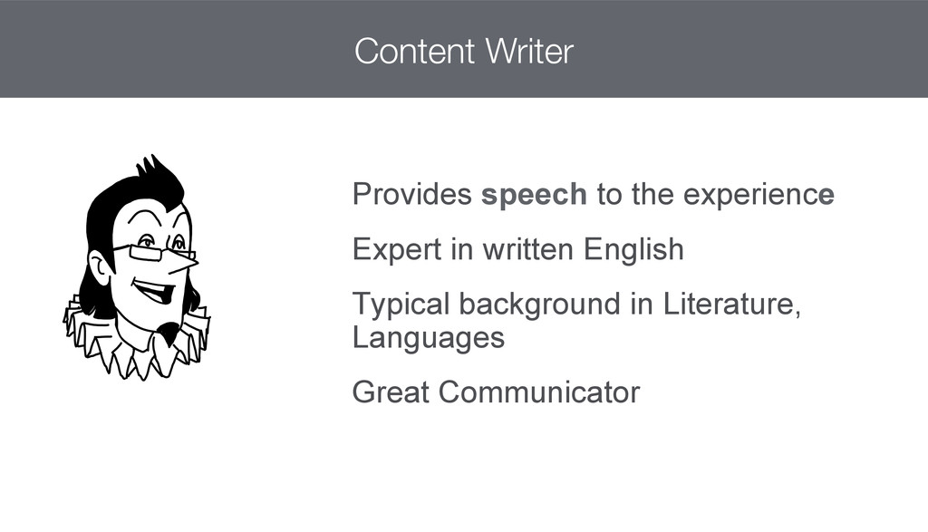 Provides speech to the experience Expert in wri...