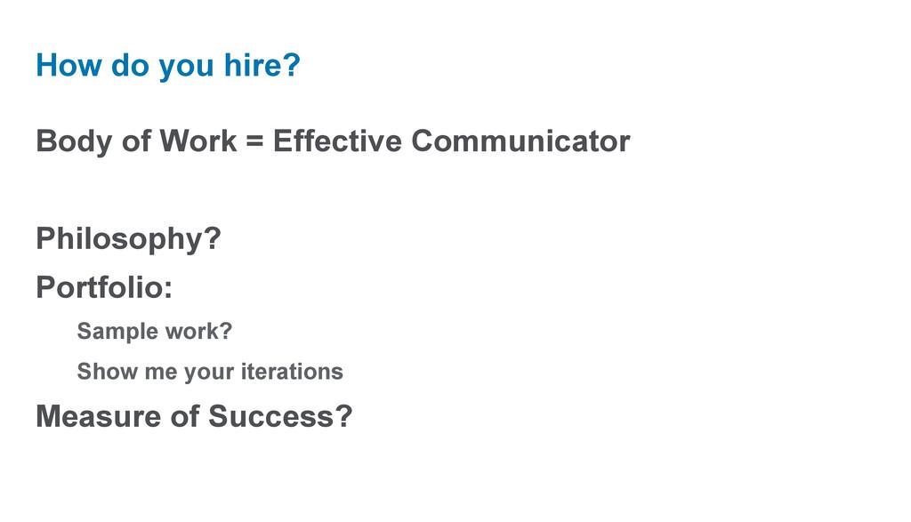 Body of Work = Effective Communicator Philosoph...