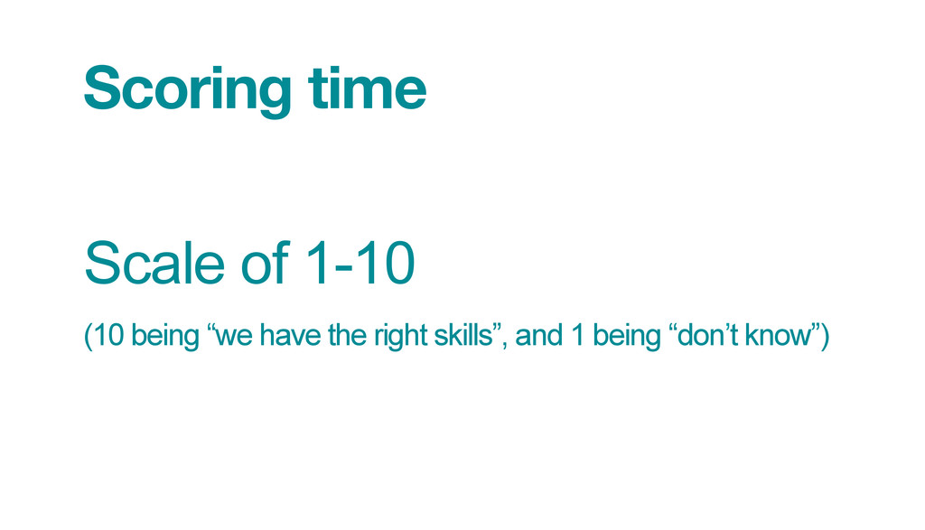 """Scoring time Scale of 1-10 (10 being """"we have ..."""