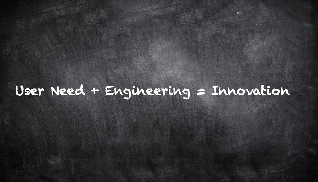 User Need + Engineering = Innovation