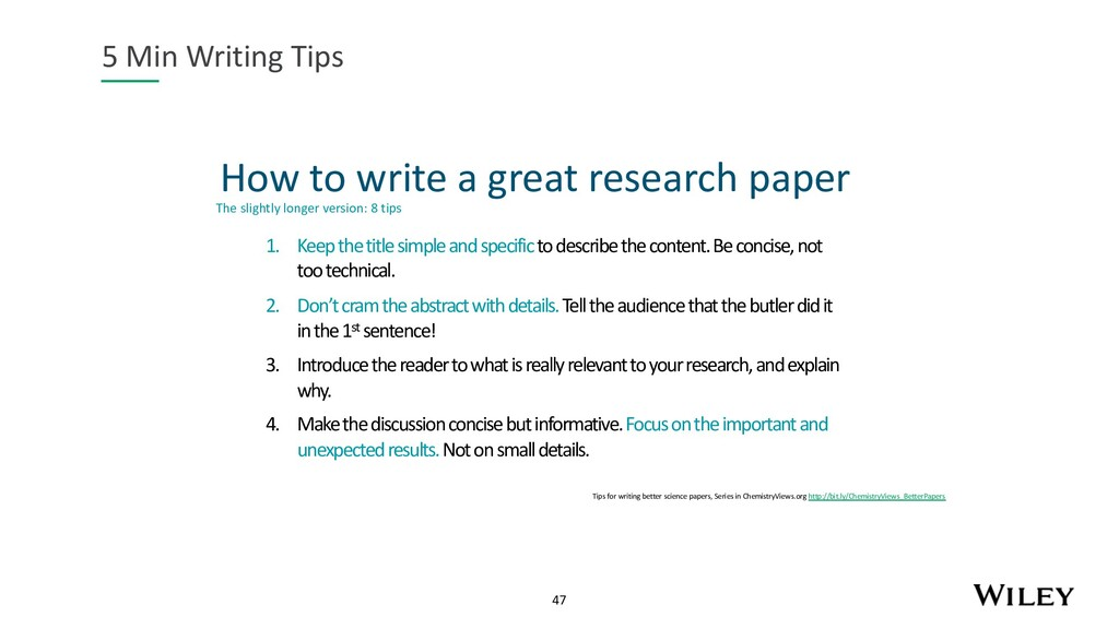 47 How to write a great research paper 5 Min Wr...