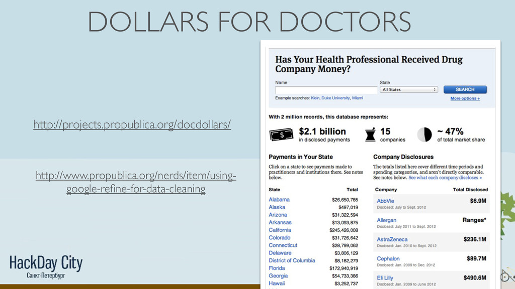 DOLLARS FOR DOCTORS http://projects.propublica....