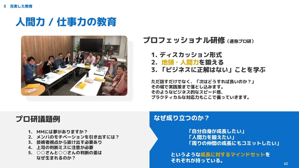 5 充実した教育 人間力 / 仕事力の教育 プロフェッショナル研修(通称プロ研) 1. ディス...