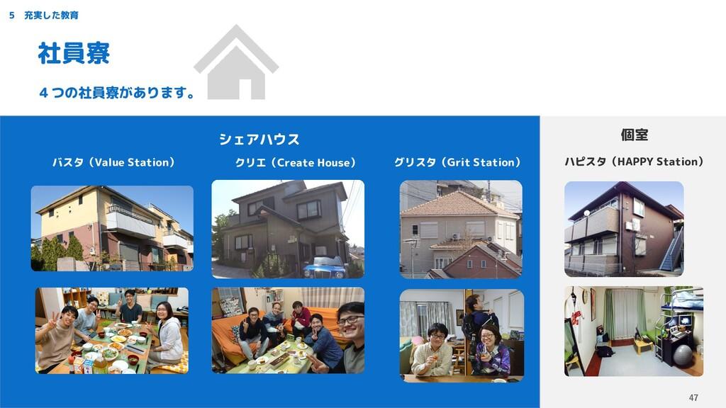 4つの社員寮があります。 5 充実した教育 社員寮 バスタ(Value Station) クリ...