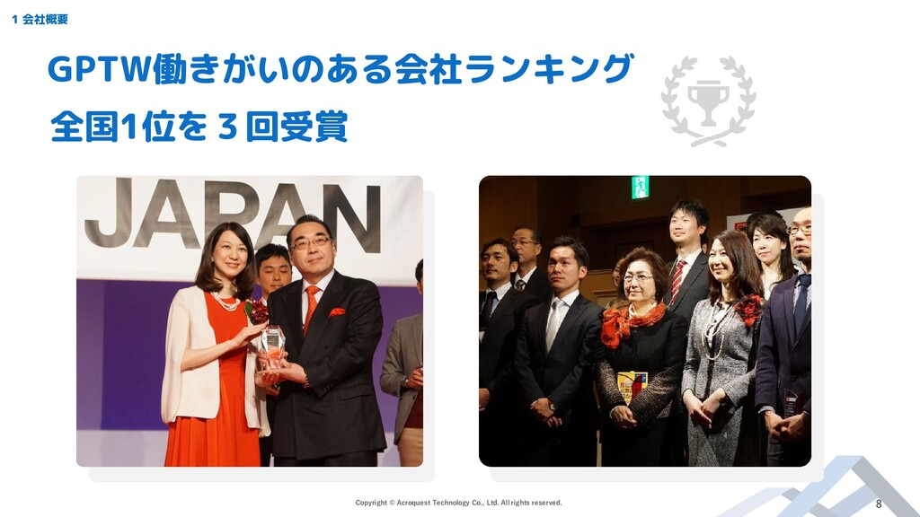 GPTW働きがいのある会社ランキング 全国1位を3回受賞 Copyright © Acroqu...