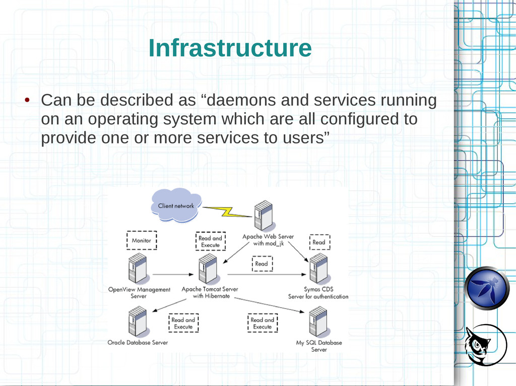 """Infrastructure ● Can be described as """"daemons a..."""