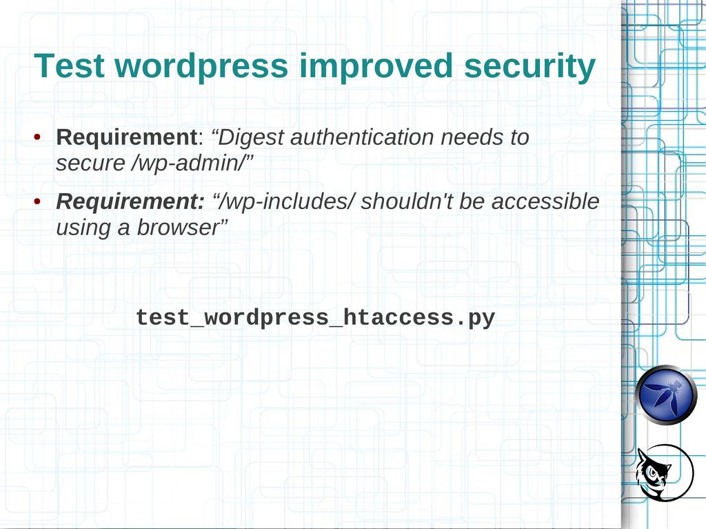Test wordpress improved security ● Requirement:...