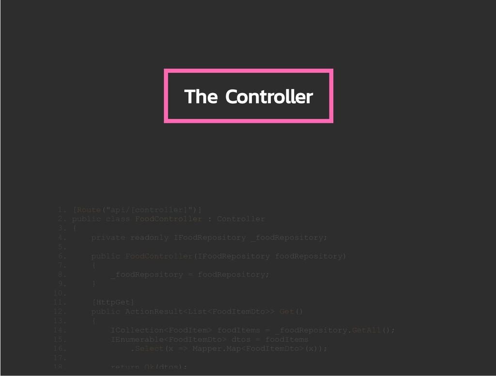 """The Controller 1. [Route(""""api/[controller]"""")] 2..."""