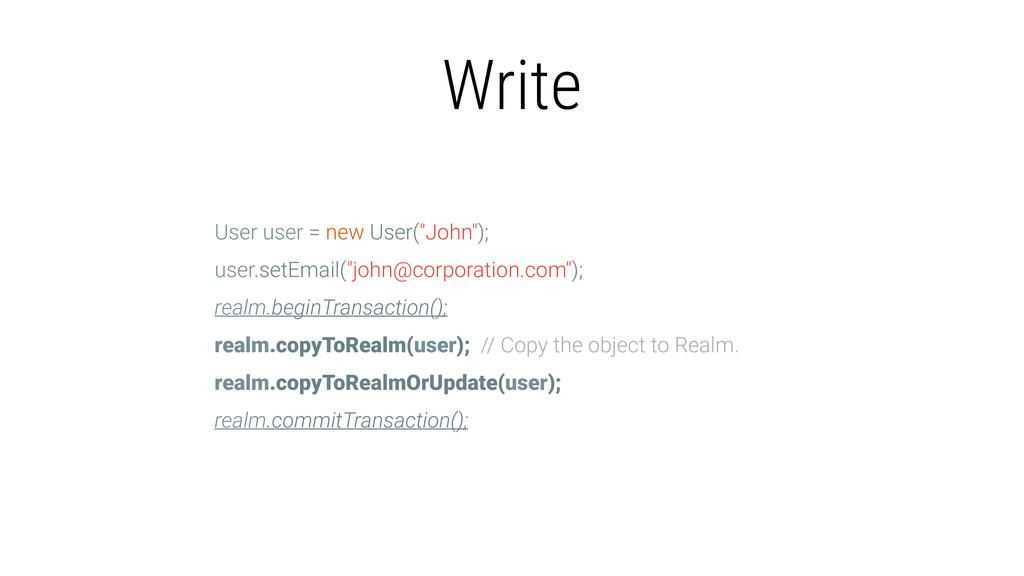 """Write User user = new User(""""John""""); user.setEma..."""