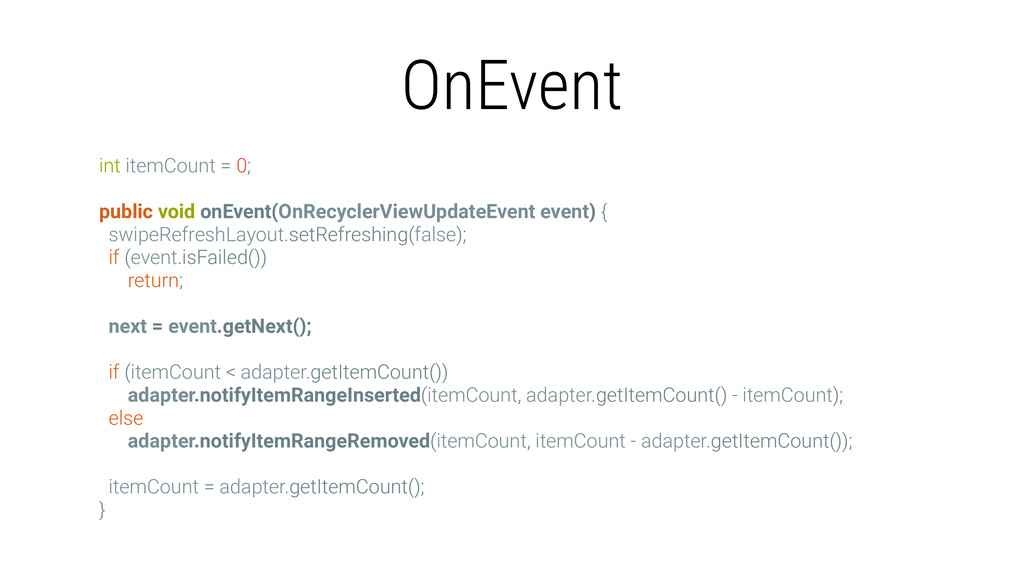 OnEvent int itemCount = 0; public void onEvent(...