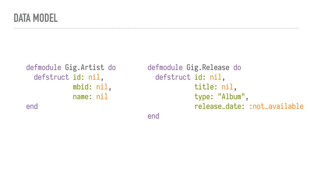 DATA MODEL defmodule Gig.Artist do defstruct id...