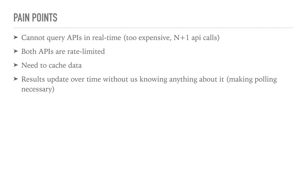 PAIN POINTS ➤ Cannot query APIs in real-time (t...
