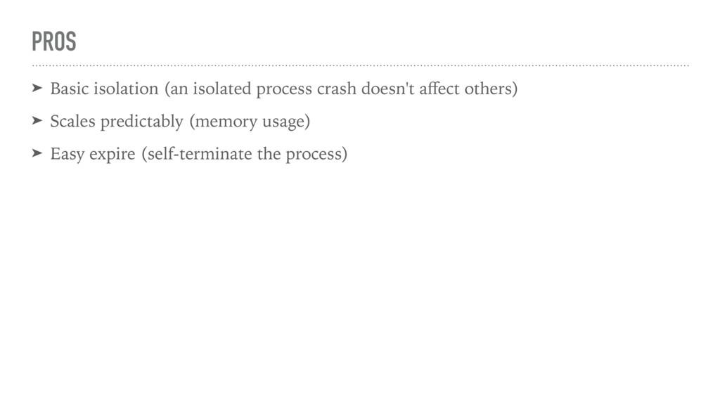 PROS ➤ Basic isolation (an isolated process cra...