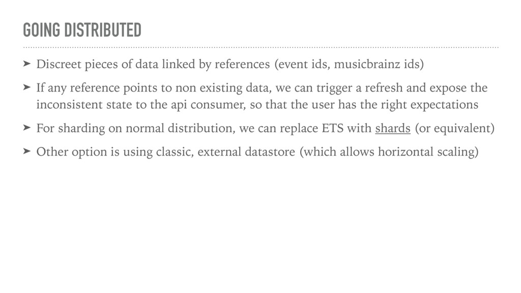 GOING DISTRIBUTED ➤ Discreet pieces of data lin...