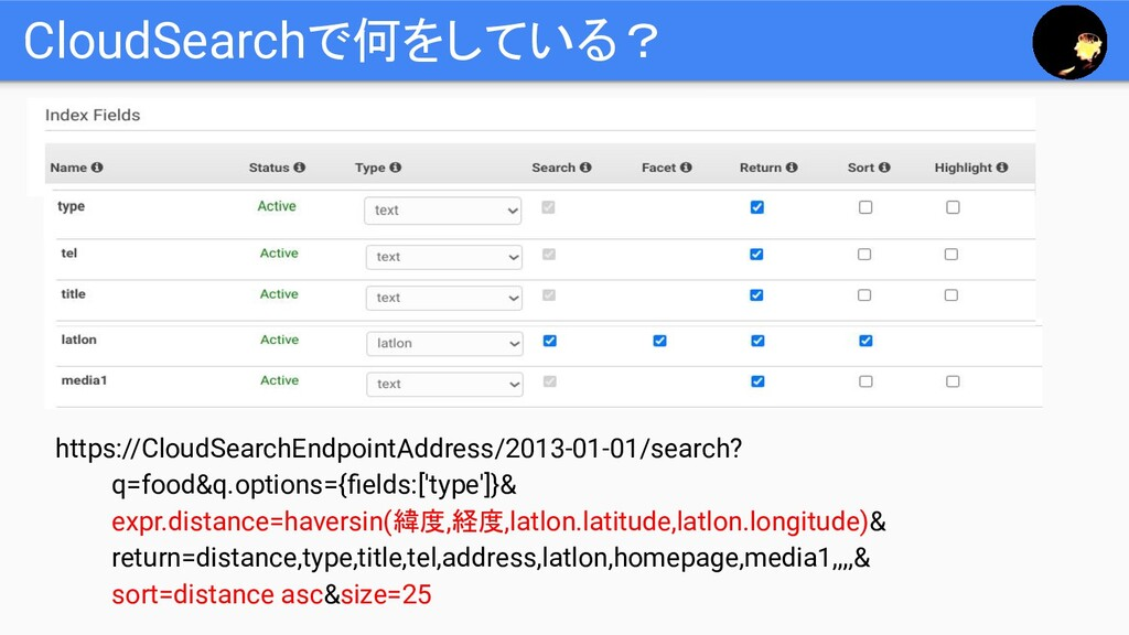 CloudSearchで何をしている? https://CloudSearchEndpoint...
