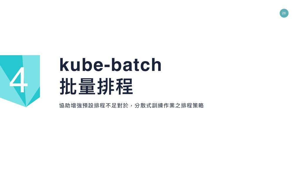 26 協助增強預設排程不⾜足對於,分散式訓練作業之排程策略略 kube-batch 批量量排程...