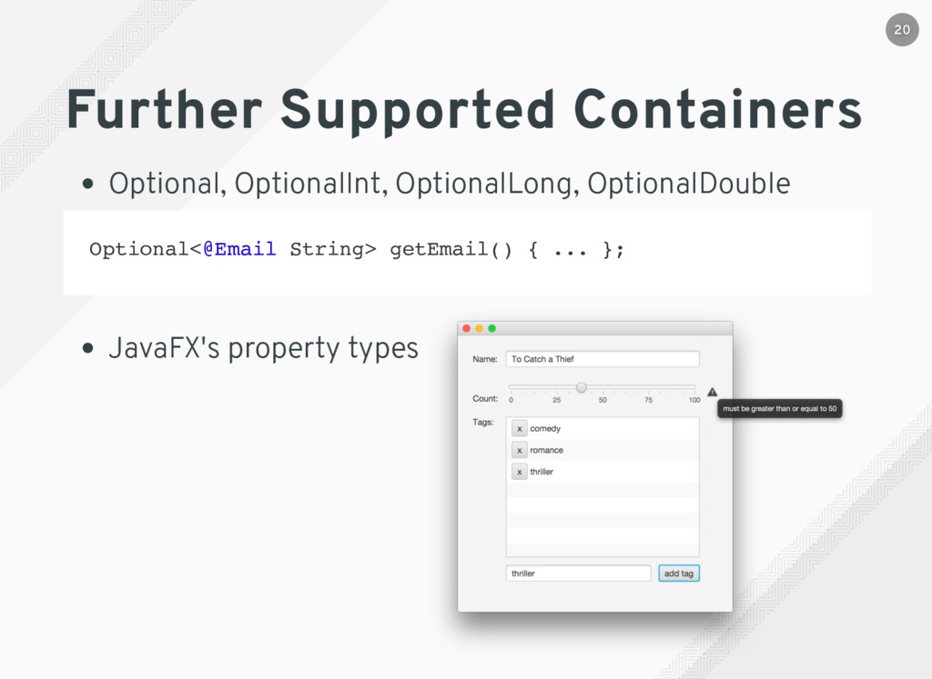 Further Supported Containers Optional, Optional...
