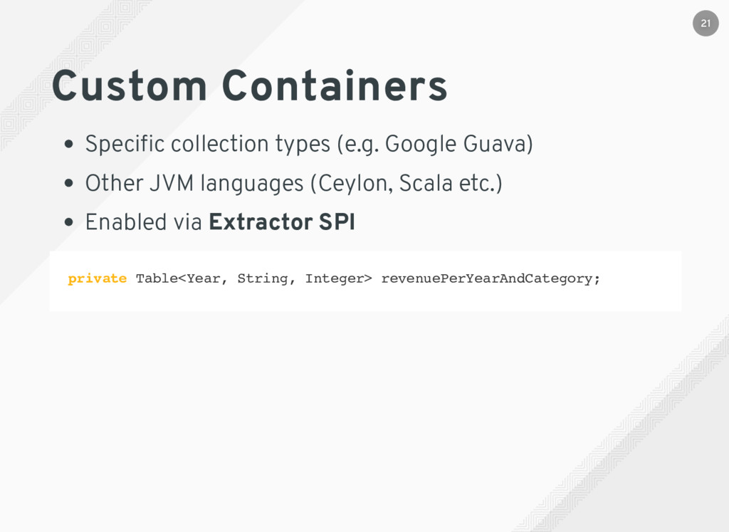 Custom Containers Specific collection types (e.g...
