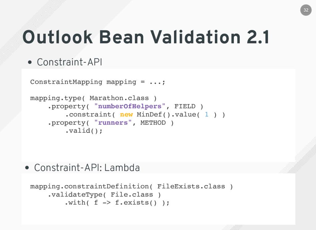 Outlook Bean Validation 2.1 Constraint-API mapp...
