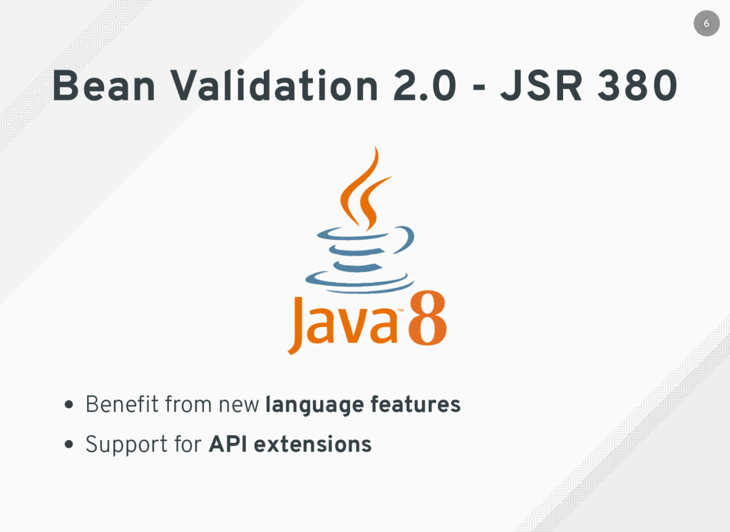 Bean Validation 2.0 - JSR 380 Benefit from new l...
