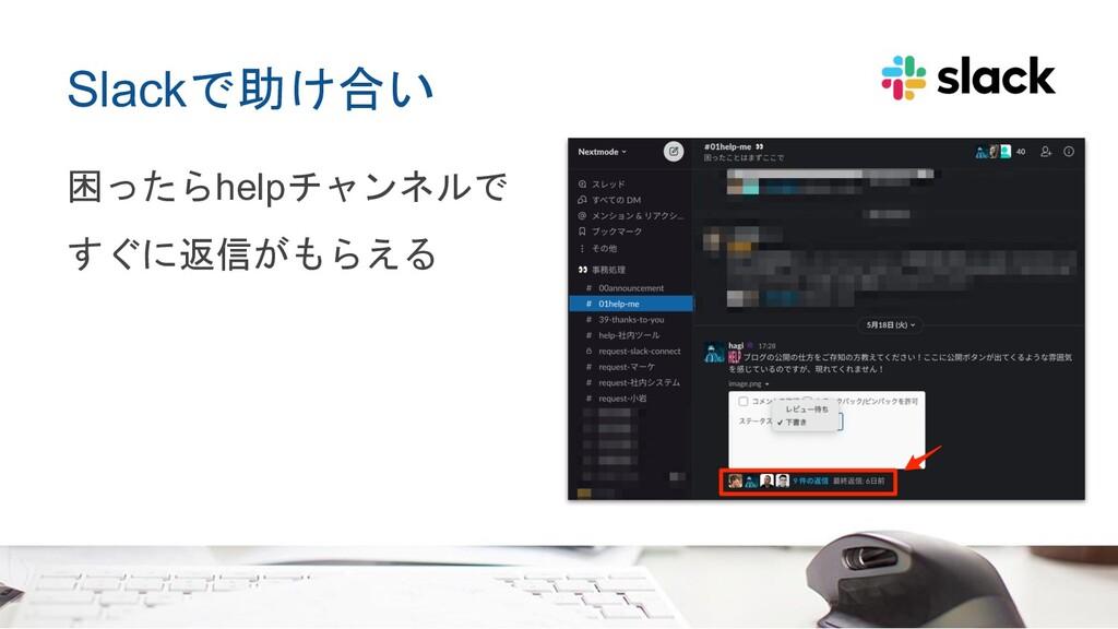 Slackで助け合い 困ったらhelpチャンネルで すぐに返信がもらえる