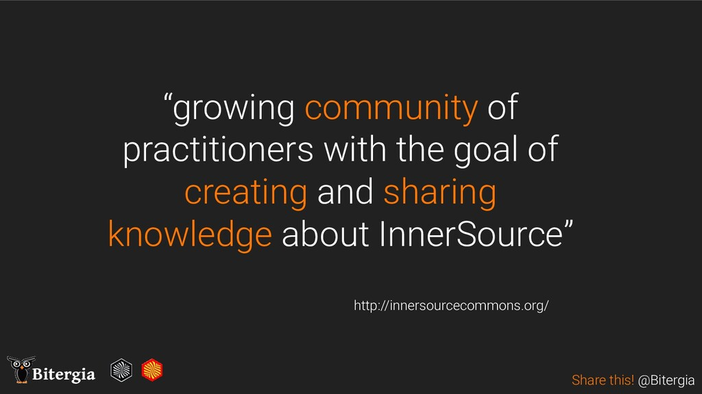 "Share this! @Bitergia Bitergia ""growing communi..."