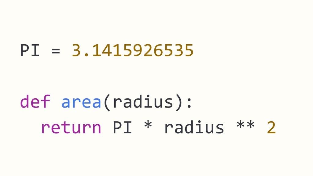 PI = 3.1415926535 def area(radius): return PI *...