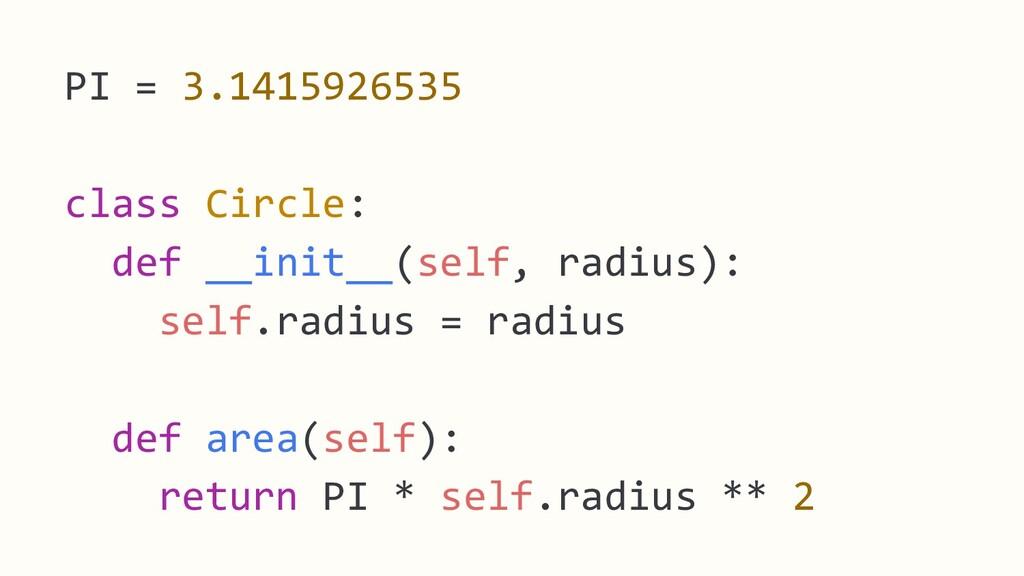 PI = 3.1415926535 class Circle: def __init__(se...