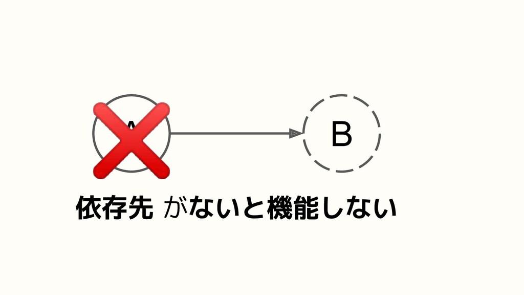A B 依存先 がないと機能しない ❌