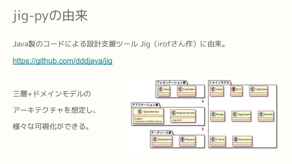 jig-pyの由来 Java製のコードによる設計支援ツール Jig(irofさん作)に由来。 ...