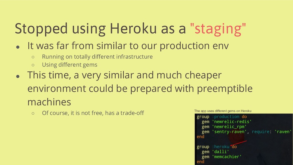 """Stopped using Heroku as a """"staging"""" ● It was fa..."""
