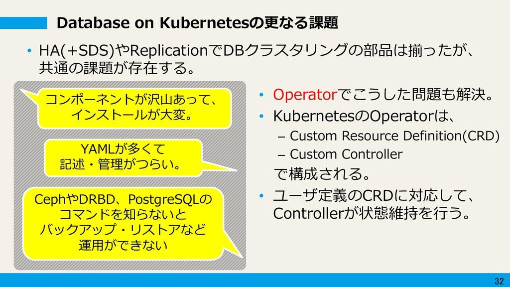 32 • Operatorでこうした問題も解決。 • KubernetesのOperatorは...