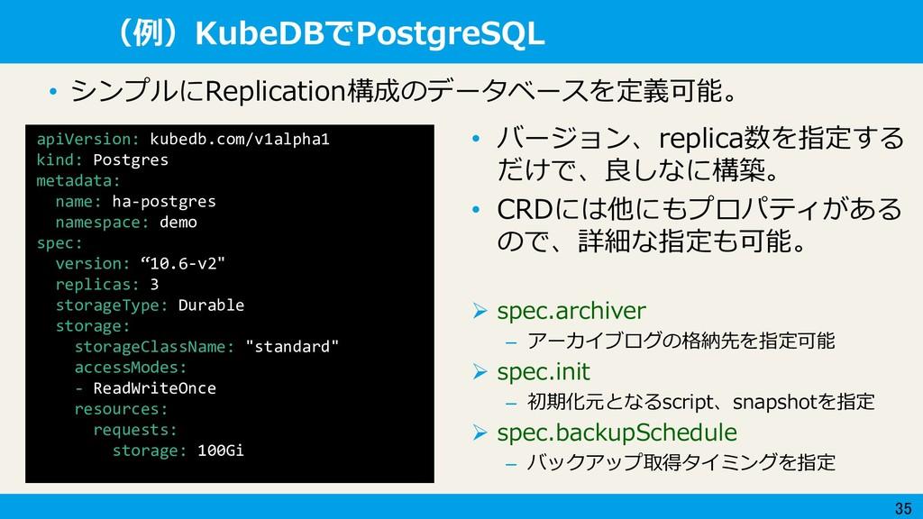 35 (例)KubeDBでPostgreSQL apiVersion: kubedb.com/...