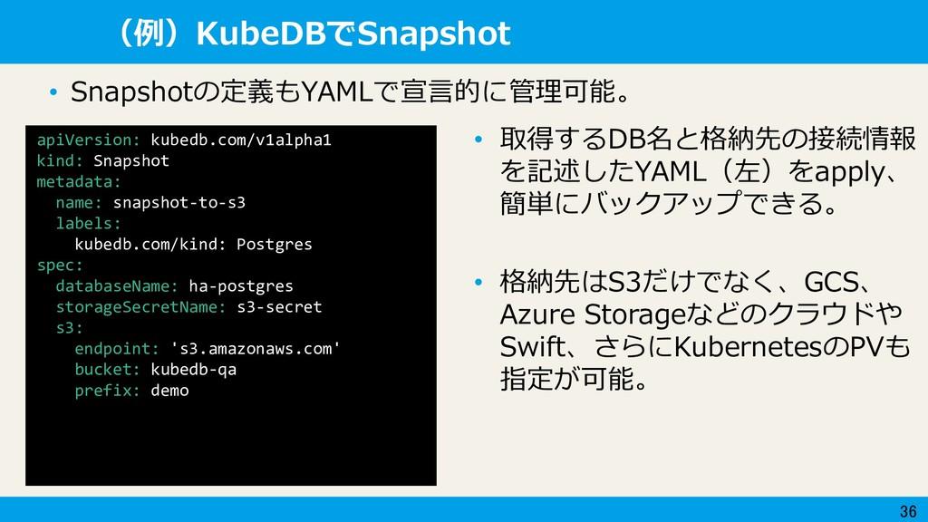 36 (例)KubeDBでSnapshot apiVersion: kubedb.com/v1...