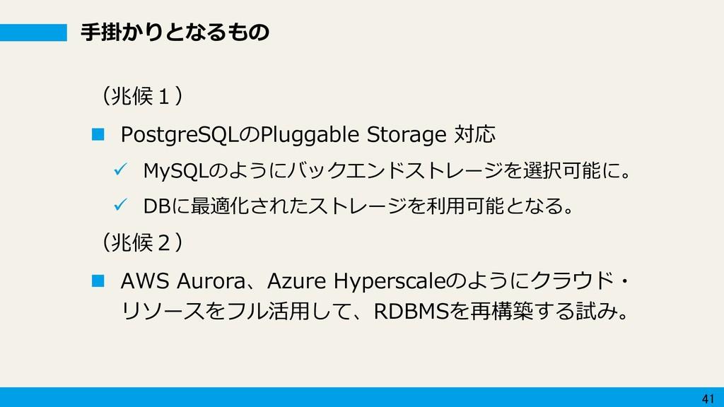 41 手掛かりとなるもの (兆候1)  PostgreSQLのPluggable Stora...