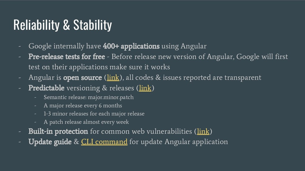 Reliability & Stability - Google internally hav...