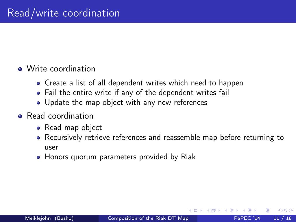 Read/write coordination Write coordination Crea...