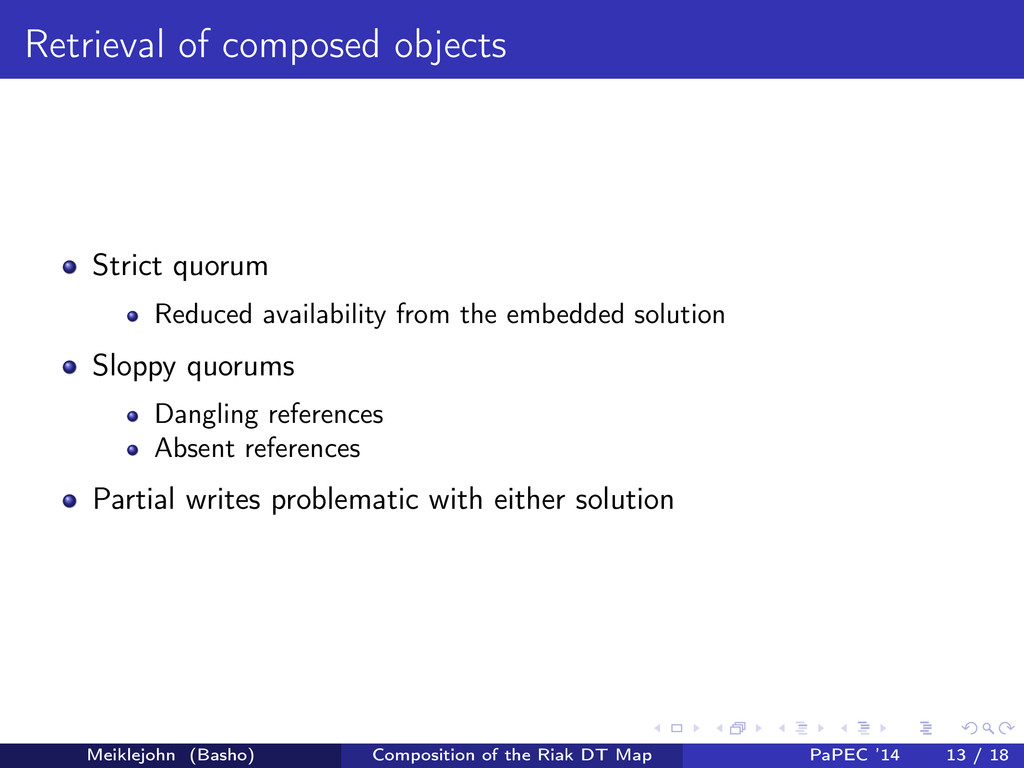 Retrieval of composed objects Strict quorum Red...