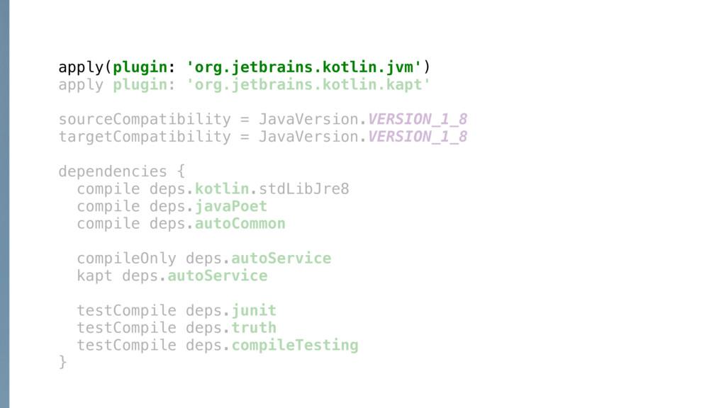 apply(plugin: 'org.jetbrains.kotlin.jvm')X appl...