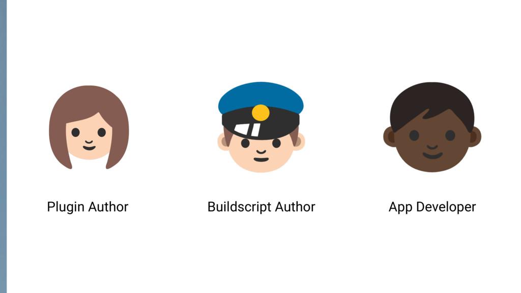 Plugin Author Buildscript Author App Developer