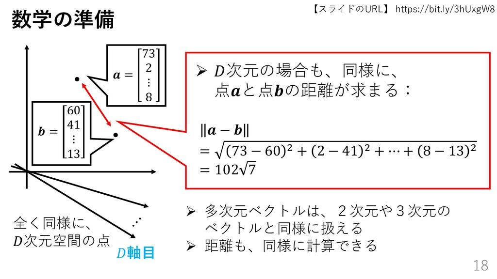 【スライドのURL】 https://bit.ly/3hUxgW8 18 数学の準備 ➢ 次元...