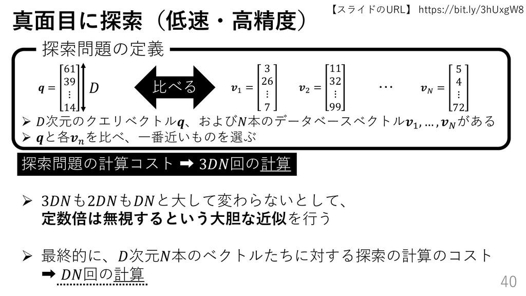 【スライドのURL】 https://bit.ly/3hUxgW8 40 真面目に探索(低速・...